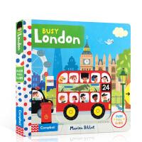 【全店300减100】英文原版 Busy London繁忙的伦敦 启蒙0-1-2-3岁儿童纸板机关操作活动书 有趣的Bu