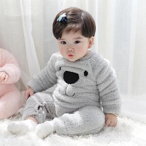 Yinbeler毛绒连体小熊秋冬婴儿连体衣婴儿珊瑚绒连体服小熊哈衣毛绒连身衣男女童白色爬服