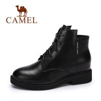 camel骆驼女鞋 冬季新款 英伦时尚百搭女靴 简约系带方跟短靴子