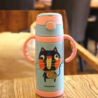【当当自营】铂盛儿童保温杯304不锈钢卡通 350ml防摔吸管杯带手柄-猫咪