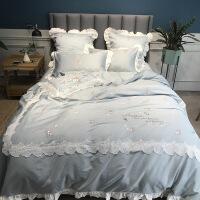 【人气】简约60支长绒棉贡缎全棉四件套1.8m纯棉刺绣花蕾丝花边床上用品 安琪儿