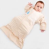 威尔贝鲁 纯棉宝宝婴儿睡袋小孩春秋新生儿童中童防踢被夏季薄款