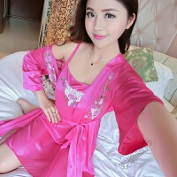 冰丝睡衣女夏季半袖性感两件套装韩版薄款睡袍浴袍吊带睡裙家居服睡裙 均码