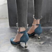 凉鞋女夏2019新款一字扣高跟鞋细跟5cm猫跟鞋包头尖头单鞋中跟夏季百搭鞋