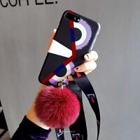 毛球挂绳xs max苹果x手机壳iphone6s硅胶套8p潮牌大气新款女