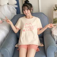 甜梦莱睡衣女士夏季短袖纯棉薄款可爱猫两件套装学生大码夏天ins家居服 OG#9025字母猫咪