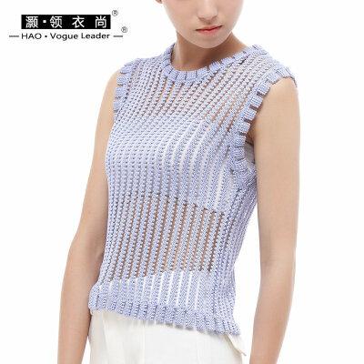 夏薄套头女装无袖镂空背心性感透视渔网拼条纹圆领短罩衫