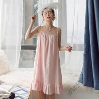 吊带睡裙女士夏季薄款小清新微性感宽松夏天睡衣大码中裙睡裙