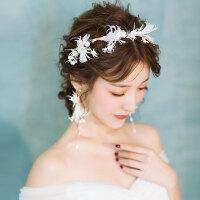 新娘结婚森系白色羽毛发饰套装超仙婚纱头饰礼服饰品