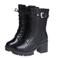 短靴女中筒靴女鞋女靴子冬季粗跟马丁靴女高跟鞋皮靴加绒女士棉鞋