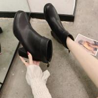 靴子女2019秋款欧美粗跟高跟马丁靴女时尚短靴女春秋单靴成熟女鞋