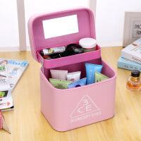定做新款化妆包韩版3CE双层便携化妆箱手提大容量洗漱包收纳包