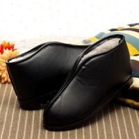 老北京皮棉鞋厚底棉拖鞋女男包跟冬季老人防水防滑居家居保暖室内