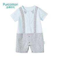 全棉时代 婴儿衣服宝宝针织带领短袖连体衣1件装