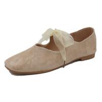 绒面绑带蝴蝶结芭蕾舞鞋甜美方头套脚浅口单鞋女平底鞋韩版仙女鞋