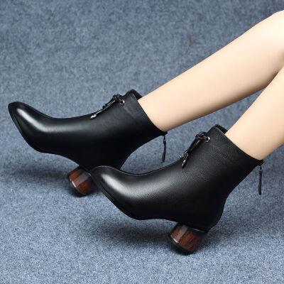 短靴女粗跟中筒加绒加厚中跟2019秋冬新款鞋子女冬高跟棉鞋女