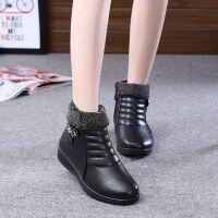 秋冬季�皮�底����棉鞋老北京雪地靴老人平底中老年女皮鞋短靴 908黑色 36