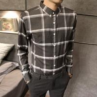 秋冬男士长袖衬衣长袖衬衫秋季修身尖领潮常规衬衫2017韩版