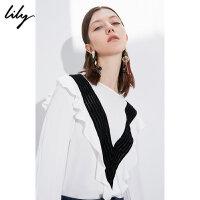 【超品日秒杀价139元】 Lily春新款女装黑白拼接荷叶边宽松白色套头衫118410C8502