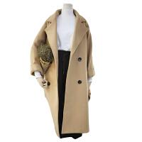 秋冬大码女装胖妹妹胖mm宽松显瘦中长款翻领加厚毛呢外套郝本大衣