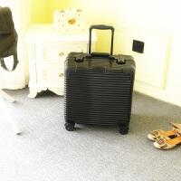 18寸登机箱拉杆箱定制男女迷你密码箱旅行箱16寸铝框行李箱 炫黑色皇冠 可拆内衬
