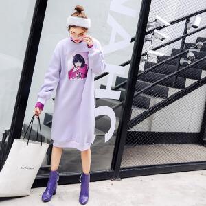 七格格秋装女新款女装韩版时尚印花卫衣裙中长款长袖宽松套头连衣裙