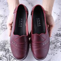 春秋季妈妈鞋单鞋中老年女鞋软底透气皮鞋舒适老人鞋老太太