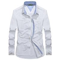 798173战地吉普AFSJEEP新款秋装纯棉尖领男士长袖衬衣 宽松商务休闲纯色衬衫