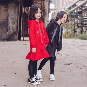 女童中长款连帽套头卫衣2017秋冬新款韩版宽松上衣外套儿童童装