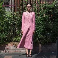 生活在左2018新款秋季女复古文艺手工绣花刺绣长袖连衣裙气质长裙