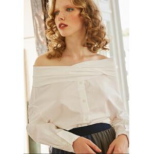 两三事止不住给你 2018春装新款露肩一字肩纯棉白衬衫女长袖衬衣