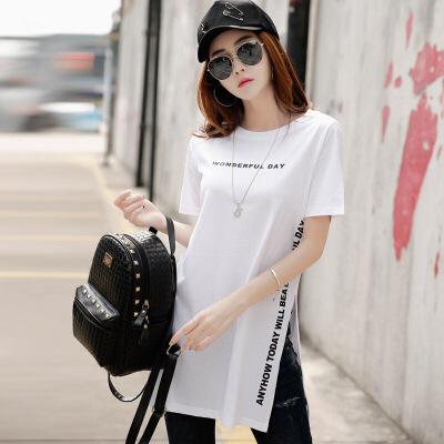 夏季女装上衣韩版修身中长款棉质体恤短袖女t恤半袖打底衫潮