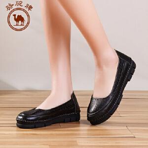 骆驼牌女鞋 春季新品手工缝制 休闲单鞋浅口低跟舒适女鞋子