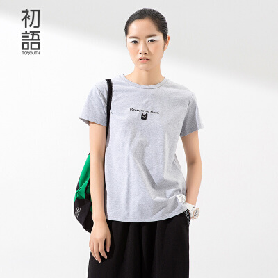 初语夏季新品 猫咪趣味刺绣英语字母短袖圆领T恤女8620*1156