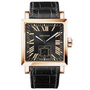 艾戈勒机械表全自动方形皮带男表真皮手表 时尚潮流男士腕表1