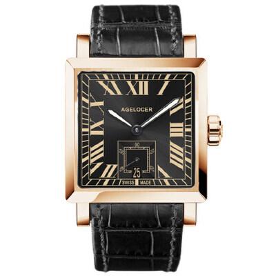 艾戈勒机械表全自动方形皮带男表真皮手表 时尚潮流男士腕表1支持七天无理由退换 零风险购