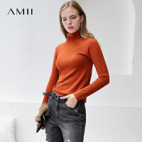 【满200减100上不封顶】Amii极简高领毛衣女套头2018早秋新款长袖黑色打底针织衫薄上衣