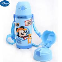 迪士尼米奇婴幼儿宝宝真空不锈钢保温杯带手柄肩带一杯二用吸管杯男女童水杯双杯盖