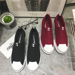 2017新款青少年鞋子青春潮流懒人鞋韩版百搭布鞋潮鞋帆布鞋男学生