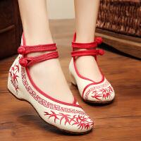 老北京布鞋女绣花鞋女牛筋底内增高复古民族风女式单鞋绑带帆布休闲舞蹈鞋女