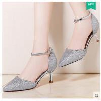 莫蕾蔻蕾春季新款韩版高跟女鞋镂空亮片细跟单鞋百搭一字带包头凉鞋70009ml