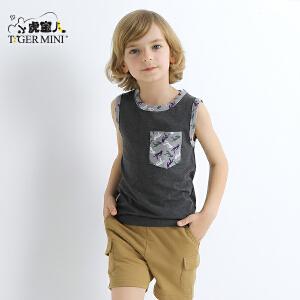 小虎宝儿童装男童纯棉无袖套装儿童小直筒运动两件套2018夏装新品