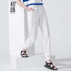 初语夏季新款 橡筋波点字母印花宽松休闲裤 女8621902020