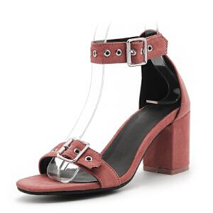 O'SHELL欧希尔夏季上新007-77-6韩版磨砂绒面粗跟高跟女士凉鞋
