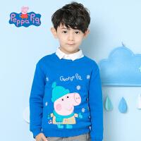 【促】小猪佩奇正版童装男童春装乔治卡通刺绣加绒针织衫毛衣毛线衣加厚保暖