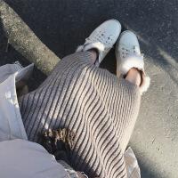 秋冬新款针织毛衣裙女装修身过膝连衣裙中长款羊毛打底裙休闲长裙