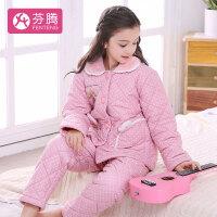 芬腾 加厚夹棉睡衣女童可爱卡通粉嫩休闲长袖翻领开衫口袋亲子装家居服套装女 粉色