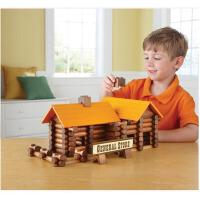 创意木制建筑林肯小木屋拼装搭建积木儿童早教益智玩具