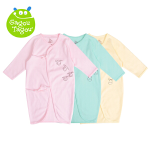 【加拿大童装】Gagou Tagou新宝宝纯棉素色绑带睡袍