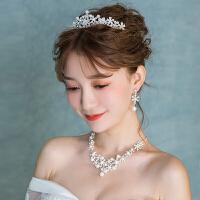 新娘皇冠头饰结婚发饰三件套项链耳环套装饰品婚纱配饰